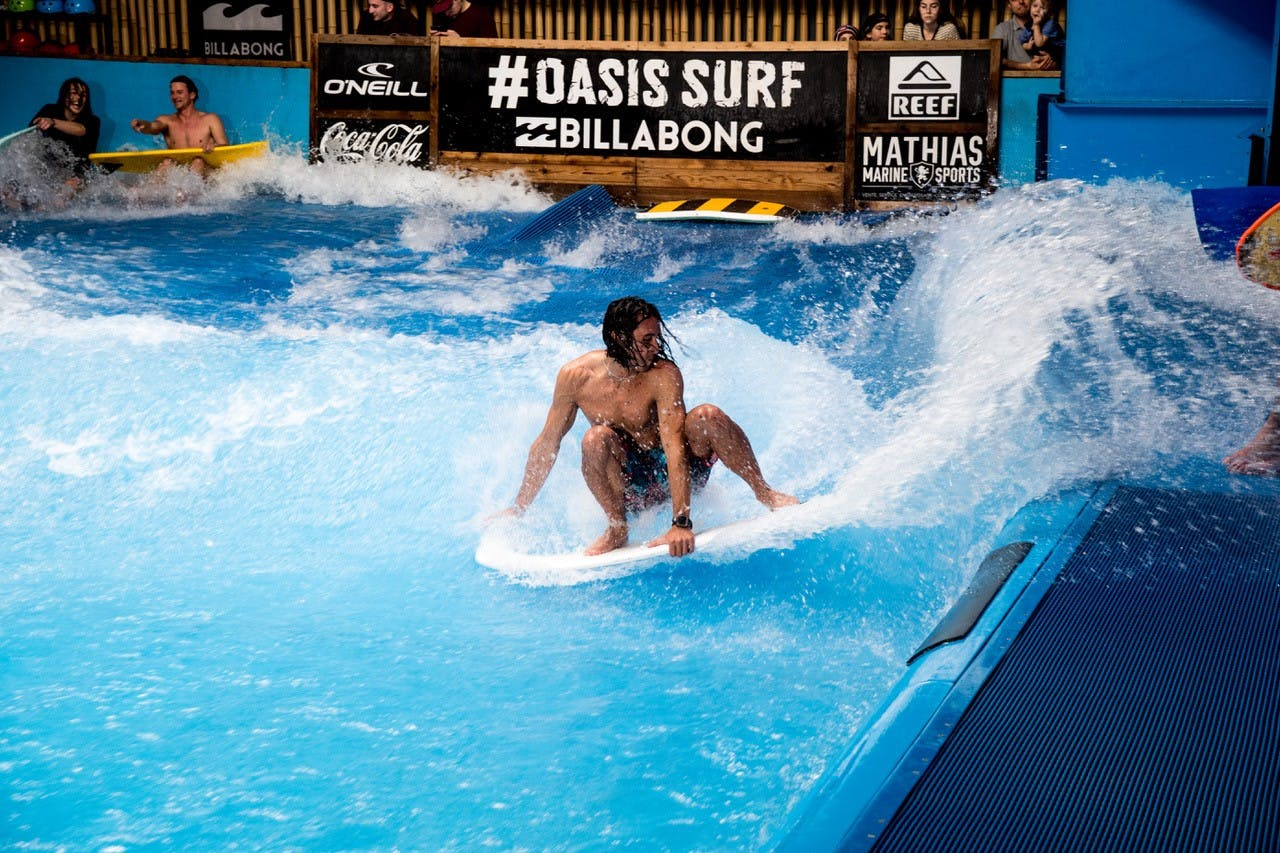 Surfer Carving in a SurfStream Wave Pool